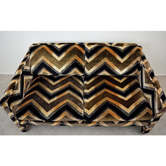 Jack Lenor Larsen Mid Century Milo Baughman Style Case Sofa For Sale - Image 4 of 13