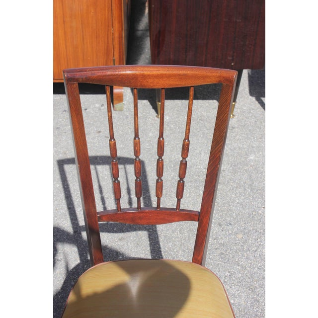 Set of Six French Art Deco Solid Mahogany Dining Chairs, circa 1940s - Image 3 of 9