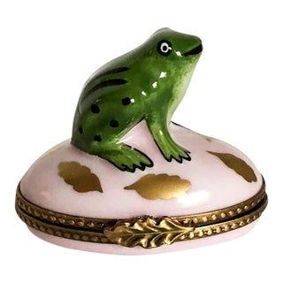 Limoge Green Frog Pale Pink Box