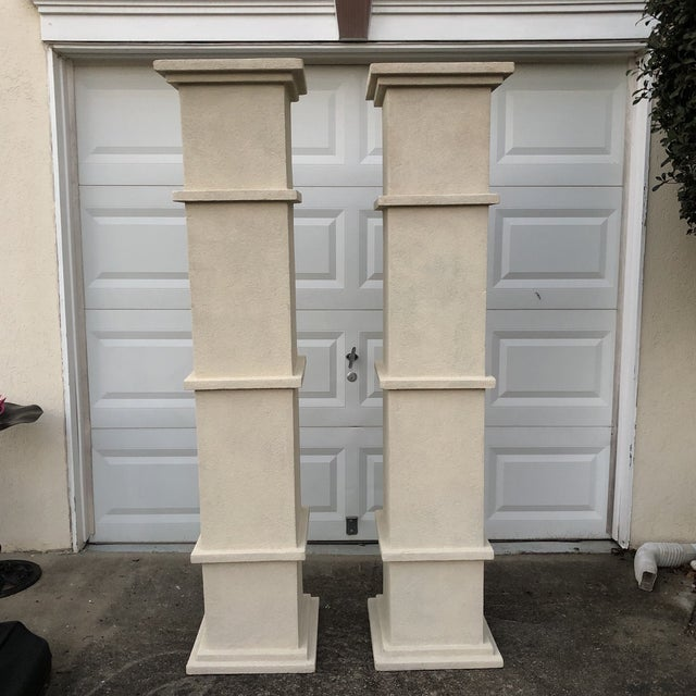 Tan Cream Stone Colored Greek Architectural Columns - A Pair For Sale - Image 8 of 8
