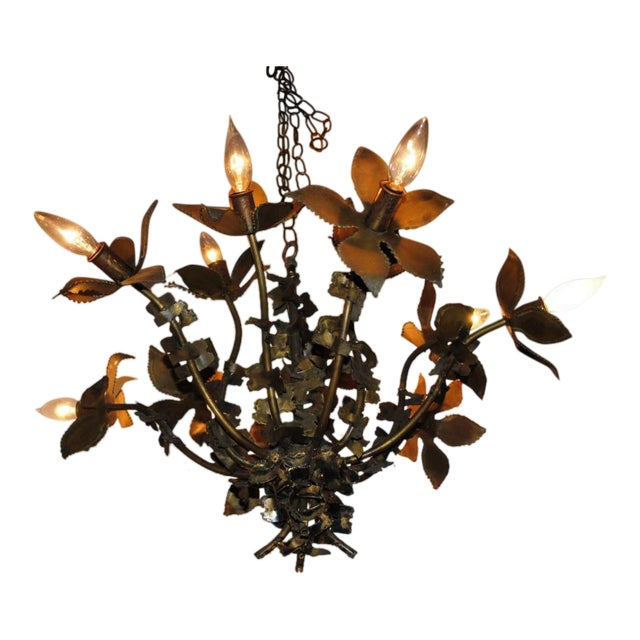 Mid-Century Feldman Brutalist Floral Chandelier Attributed to Tom Greene For Sale