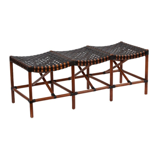Malibu Bench. Frame Color - Cocoa. Leather Color - Black. Woven leather seat. Chair weight limit 275 lbs.