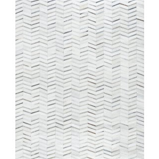 Hand-Loomed Silver Cowhide Area Rug- 2' X 3'