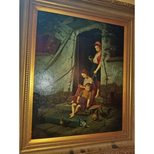 Blue Old Master Style Oil on Canvas of Mother, Children and Poultry For Sale - Image 8 of 10