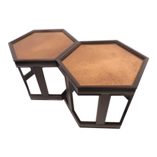 1960s Mid Century Modern Brown Saltman John Keal Hexagon Side Tables - a Pair For Sale