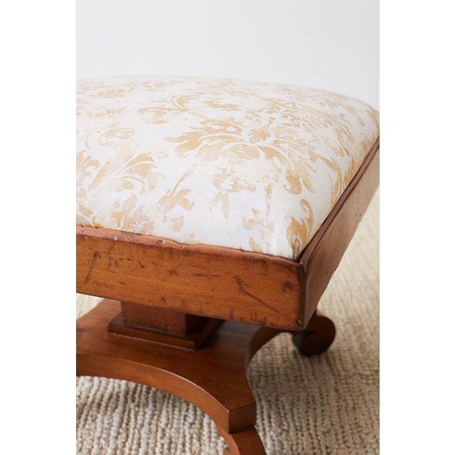 Pair of Biedermeier Carved Footstools With Fortuny Upholstery For Sale - Image 9 of 13