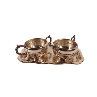 1950s Silver Plate Cream and Sugar Set With Tray - 3 Pieces For Sale