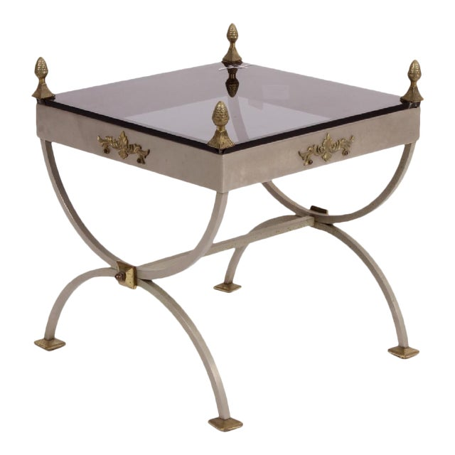 Neoclassical Metal Side Table For Sale