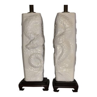 1950s Chinoiserie High Relief White Matte Pottery Chinese Dragon Table Lamps - a Pair