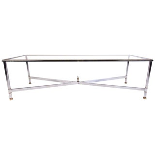 Mid-Century Modern Chrome and Brass Coffee Table For Sale