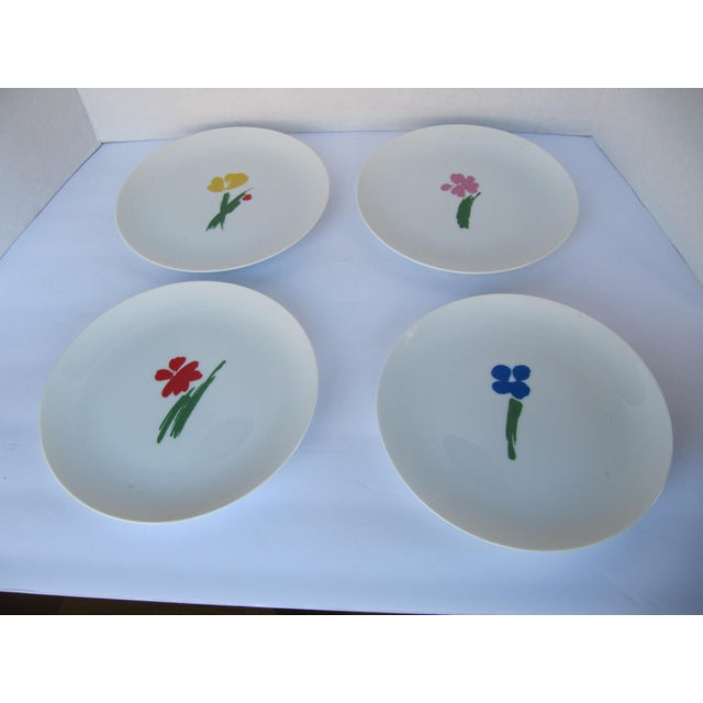 Abstract Vintage Salad Plates With Flowers- 4 Pieces For Sale - Image 3 of 5