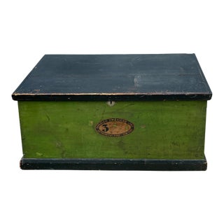 Late 19th Century American Painted Wooden Steamer Trunk For Sale