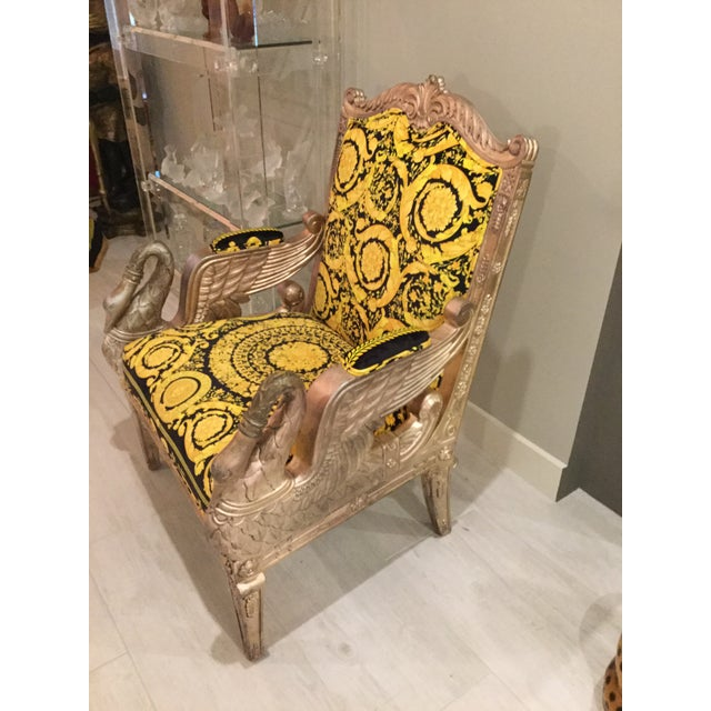 Baroque 1960s Vintage Gianni Versace Black Gold Upholstery Throne Swan Chair For Sale - Image 3 of 13