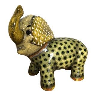Late 20th Century Sermel Paper Mache Elephant Figurine For Sale