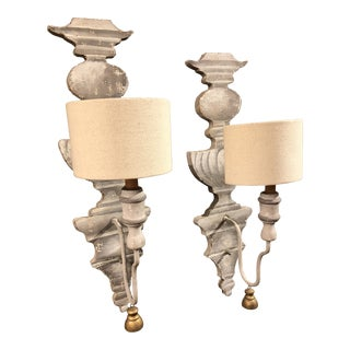 Painted Tromp L'oeil Wood Sconces - a Pair For Sale