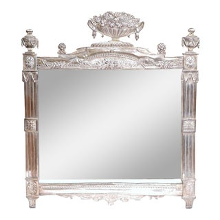 19th Century French Louis XVI Copper Silvered Repousse Mirror For Sale