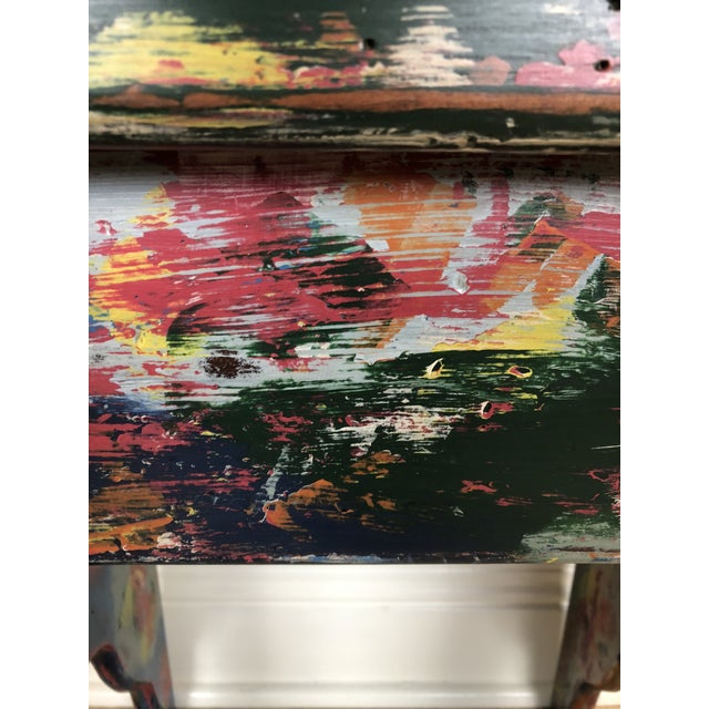 Chalk Industrial Bohemian Accent Table For Sale - Image 7 of 9