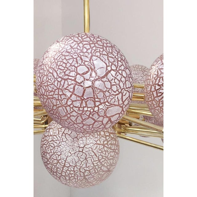 Metal Crackled Orbs Chandelier by Fabio Ltd For Sale - Image 7 of 12
