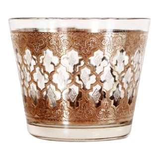 1950s Vintage Mid Century Hollywood Regency Silver Gilded Glass Ice Bucket For Sale