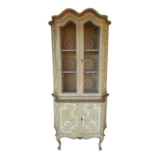 Vintage Paint Distressed French Style 2pc Cabinet Curio