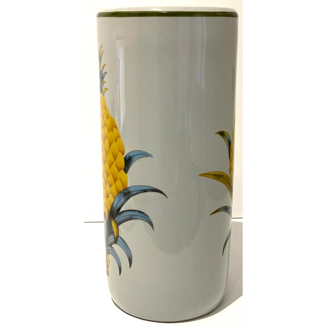 Mid 20th Century Vintage Fornasetti Style Umbrella Stand With Double Pineapple Motif For Sale - Image 5 of 12
