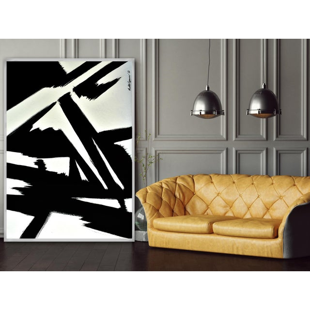Abstract Abstract Black & White Slash - Frame Print 32x48 For Sale - Image 3 of 6