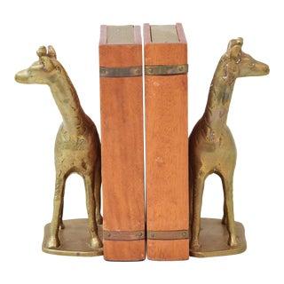 Giraffe Brass & Wood Bookends - a Pair