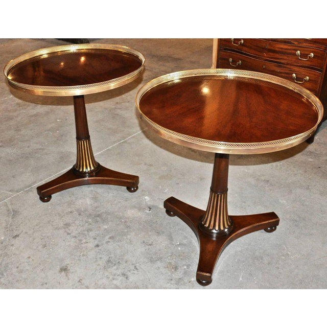 Hollywood Regency Midcentury Regency Style Mahogany Side Tables with Brass Gallery - A Pair For Sale - Image 3 of 7