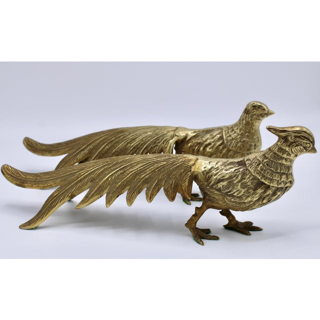 Mid 20th Century Brass Pheasants - a Pair For Sale - Image 11 of 13