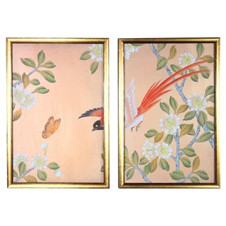 Rose Gold Silk Chinoiserie Wallpaper Diptych Paintings - 2 Pieces