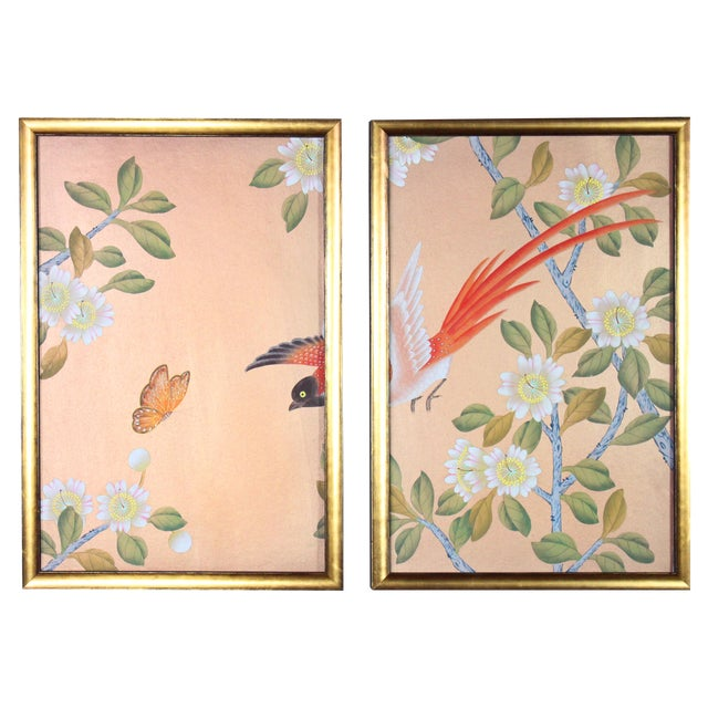 Rose Gold Silk Chinoiserie Wallpaper Diptych Paintings - 2 Pieces For Sale