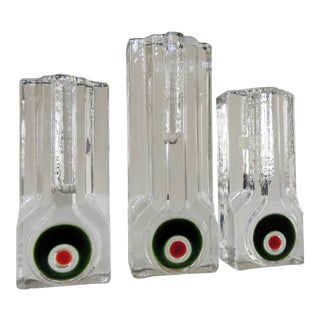 Walther Glass of Germany Mid Century Modern Op Art Pop Modern Glass Bud Vases - Set of 3 For Sale