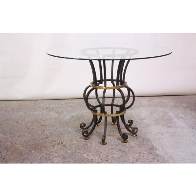 Hollywood Regency Style Brass and Steel Center Table after Maitland-Smith - Image 4 of 9