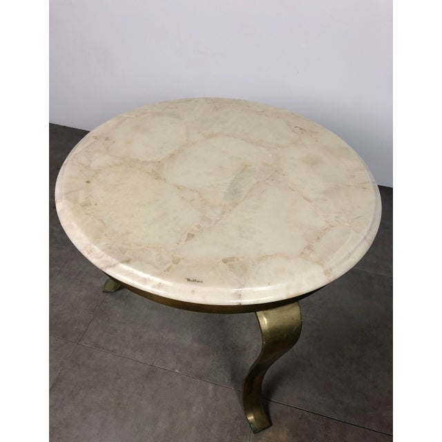 Metal Pair Muller's Onyx & Brass End Tables, 1960's For Sale - Image 7 of 11