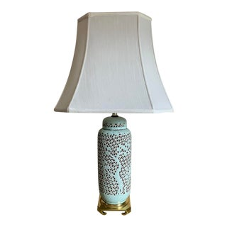 1950s Large Mid-Century Celadon Reticulated Pierced Porcelain Table Lamp with Shade For Sale