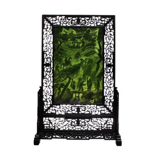 Chinese Vintage Spinach Green Stone Scenery Carving Table Top Wall Panel Display For Sale