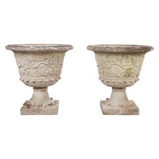 English Cast-Stone Garden Urns- a Pair For Sale