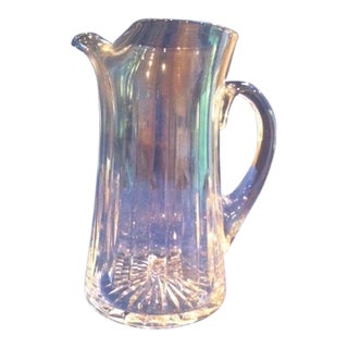 1980s Vintage Stuart Blown Glass Ice Lip Pitcher For Sale