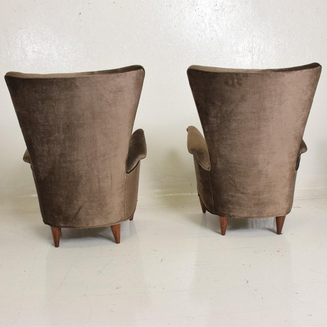 Mid Century Modern Pair of Arm Chairs by Gio Ponti for Bristol Hotel in Merano Italy For Sale - Image 9 of 12