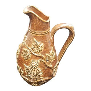 Majolica Style Clay Pitcher