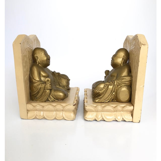1970s Vintage Chinese Smiling Buddha bookends - A Pair For Sale - Image 5 of 11