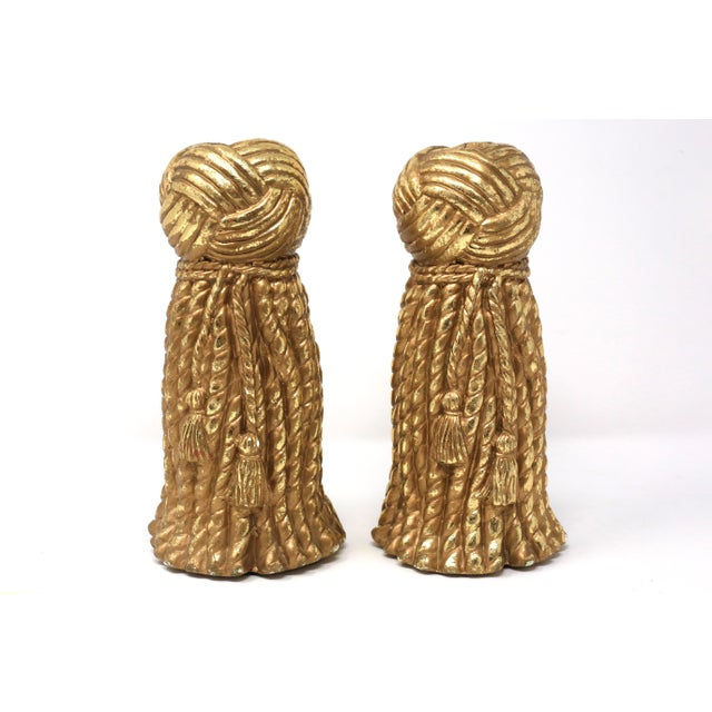 Vintage Gold Rope and Tassel Candlesticks For Sale - Image 10 of 10