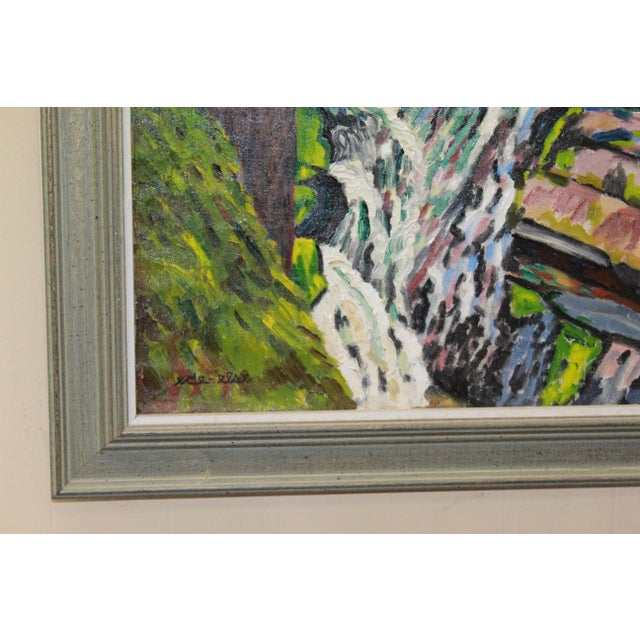 Beautiful New England forest water fall scene by Ede Else. Expressionist oil on canvas.