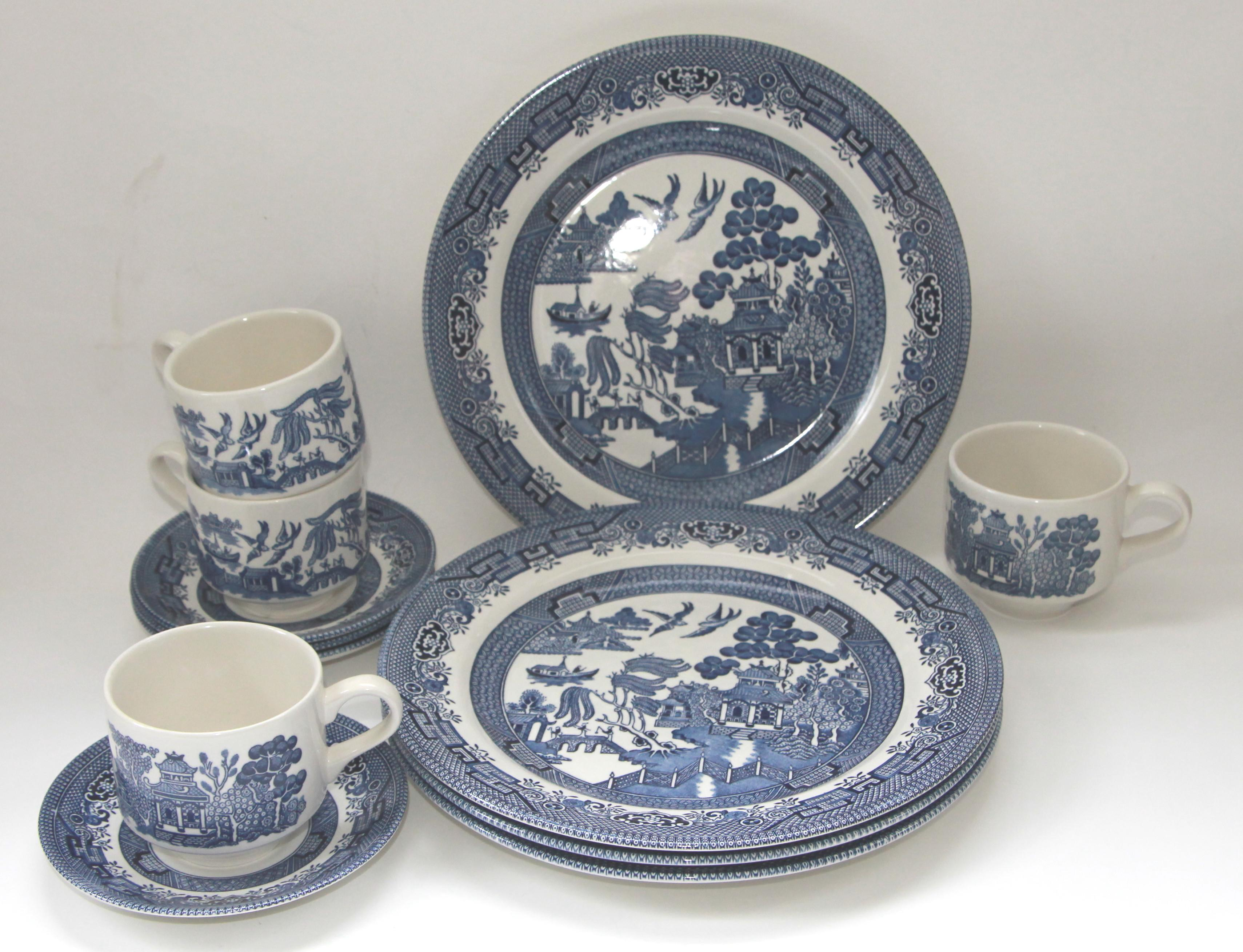 Blue Willow Churchill Transferware Plates Cups u0026 Saucers - Set of 12 - Image 4  sc 1 st  Chairish & Blue Willow Churchill Transferware Plates Cups u0026 Saucers - Set of ...