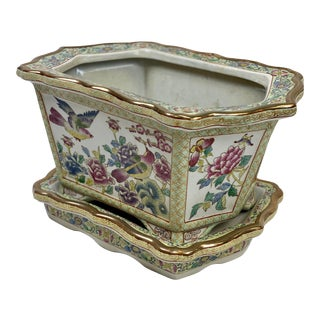 Vintage Chinoiserie Style Porcelain Planter & Underplate For Sale
