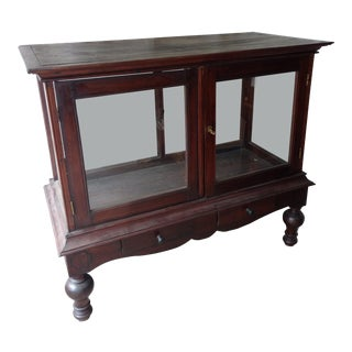 1930s Traditional Plantation Rosewood Glass Display Cabinet For Sale