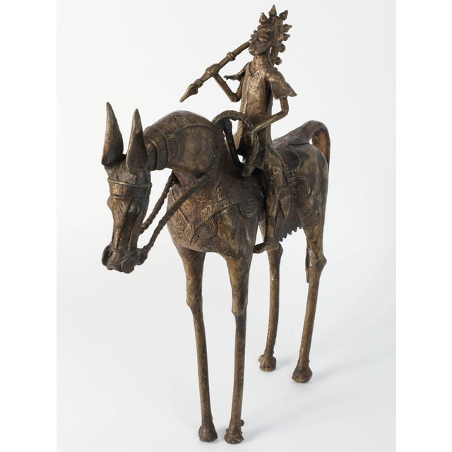 African Brass Sculpture of a Tribal Warrior on Horse For Sale In Los Angeles - Image 6 of 9