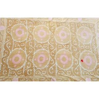 Uzbekist Neutral Suzani Bed Cover Huge 7.5x11ft For Sale