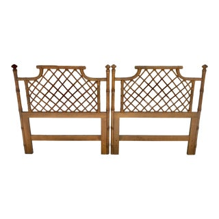 1960s Hollywood Regency Faux Bamboo Twin Beds - a Pair
