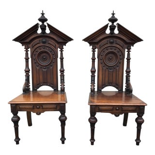 Antique Gothic Style Church Chairs - a Pair For Sale